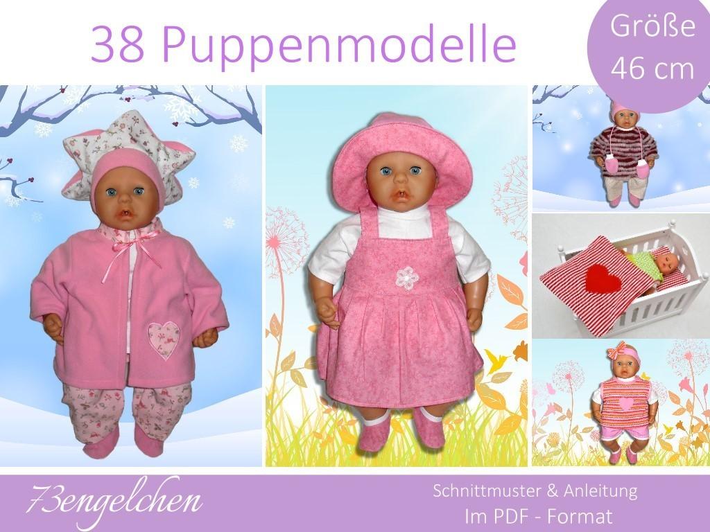 Schnittmuster für 38 Puppenmodelle / Gr. 46 cm, Puppenkleidung